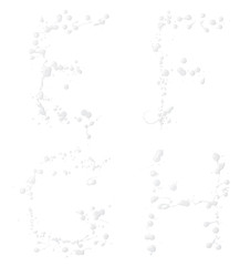 Letters made with the drops of paint