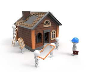 Builders construct the house