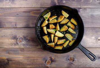 Hot fried potatoes in a pan