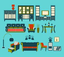 Retro Home Living Furniture Set - Illustration