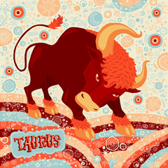 Astrological zodiac sign Taurus. Part of set of horoscope signs