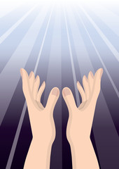Hand people pray to God Christianity hope ,purple bright