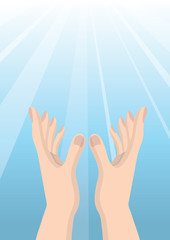 Hand people pray to God Christianity hope blue bright