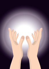 Hand people pray God Christianity hope ,purple bright  circle
