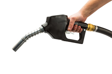 gas pump nozzle with hand