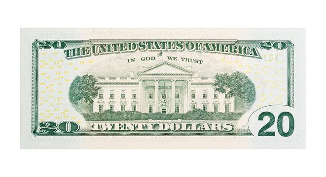$20 banknote U.S. dollars isolated on white background.