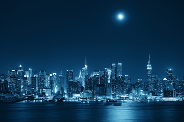 Fototapete - Moon Rise Manhattan