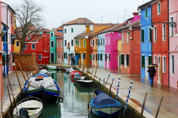 Houses and canal, Burano Island, Venice, Italy