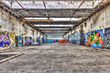 Graffiti in a brownfield site factory