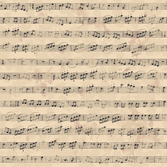 Seamless pattern with music notes on old paper