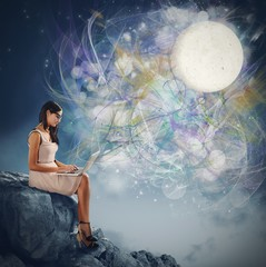 Woman and the moonlight