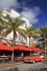 Ocean Drive restaurant in Miami Beach, Florida, USA