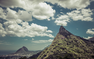 Corcovado Hill wit Christ with clouds dynamic, Rio de Janeiro