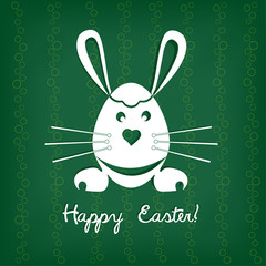 Easter card with rabbit. Vector illustration