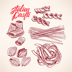 set with sketch pasta
