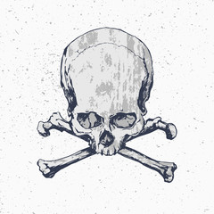 Grunge skull with crossbones on dusty background