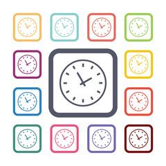 Time flat icons set