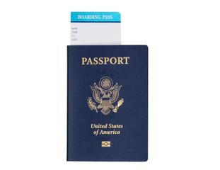 American Passport on white background