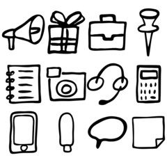 Hand drawn icons made in vector.