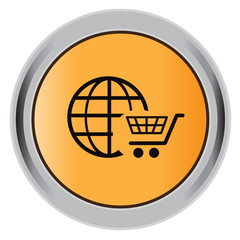 world trading, cart, icon, flat, vector, illustration, button
