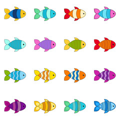 Set of cute fishes, vector illustration