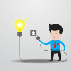 Businessman get idea with light bulb and plug..
