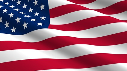 United States flag background.