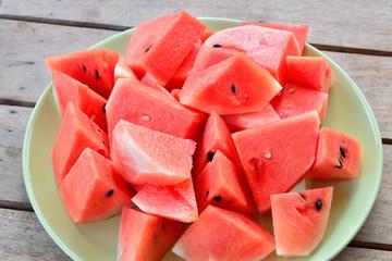 Fresh Watermelon on the table.