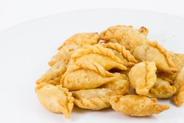 Khanom Pun Klib Tord (Deep fried stuffed miced Chicken wrapped i