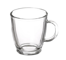 empty glass cup of tea with handle isolated on white background