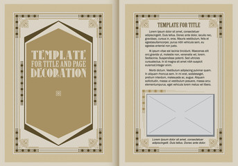 Vector illustration. Template booklet in vintage style.