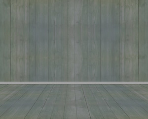 Empty room of old dark green wood wall and floor
