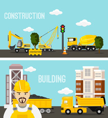 Construction and building concept vector flat illustration