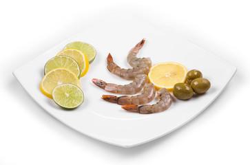 Fresh shrimps with lemon.