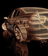 Model car. 3D render Illustration.