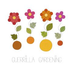 Guerrilla gardening vector illustration