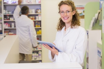 Pharmacist using tablet pc