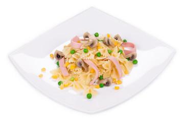 Pasta farfalle with ham and mushrooms.