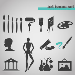 icons set of art supplies for painting