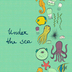 Under the sea vertical seamless pattern