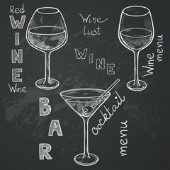 Sketched wine glasses on chalkboard background