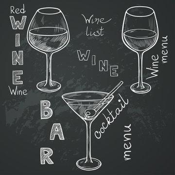 Sketched wine glasses on chalkboard background