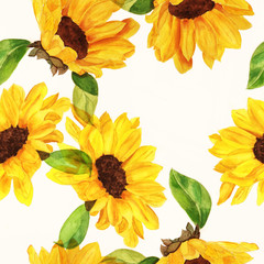 Seamless watercolour sunflowers pattern on white background