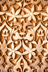 Wall Mural - Alhambra de Granada. Islamic plasterwork in Nasrid Palaces