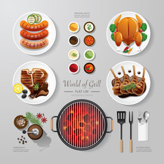Infographic food grill,bbq,roast,steak flat lay idea. Vector ill