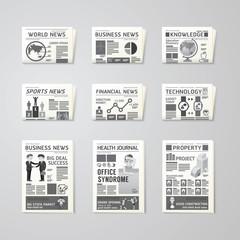Newspaper daily flat vector set design template.business,health,