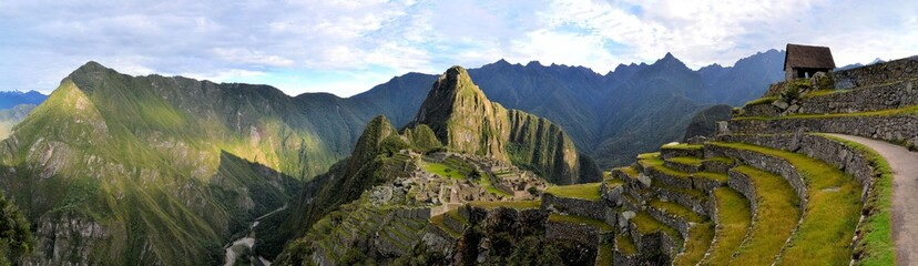 Panorama of Machu Picchu, lost Inca city in the Andes, Peru