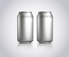 Big and small metal cans composition. Vector cold drink