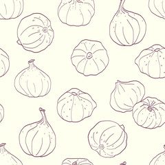 Hand drawn sketched figs seamless pattern