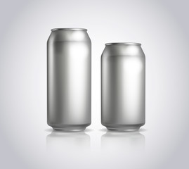 Two metal cans. Vector illustration of cold drink